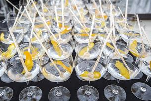 Gin and Tonics laid out on board the New Orleans boat on the Thames at Henley.