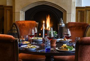 Meal by the fireside at the Oakley Court